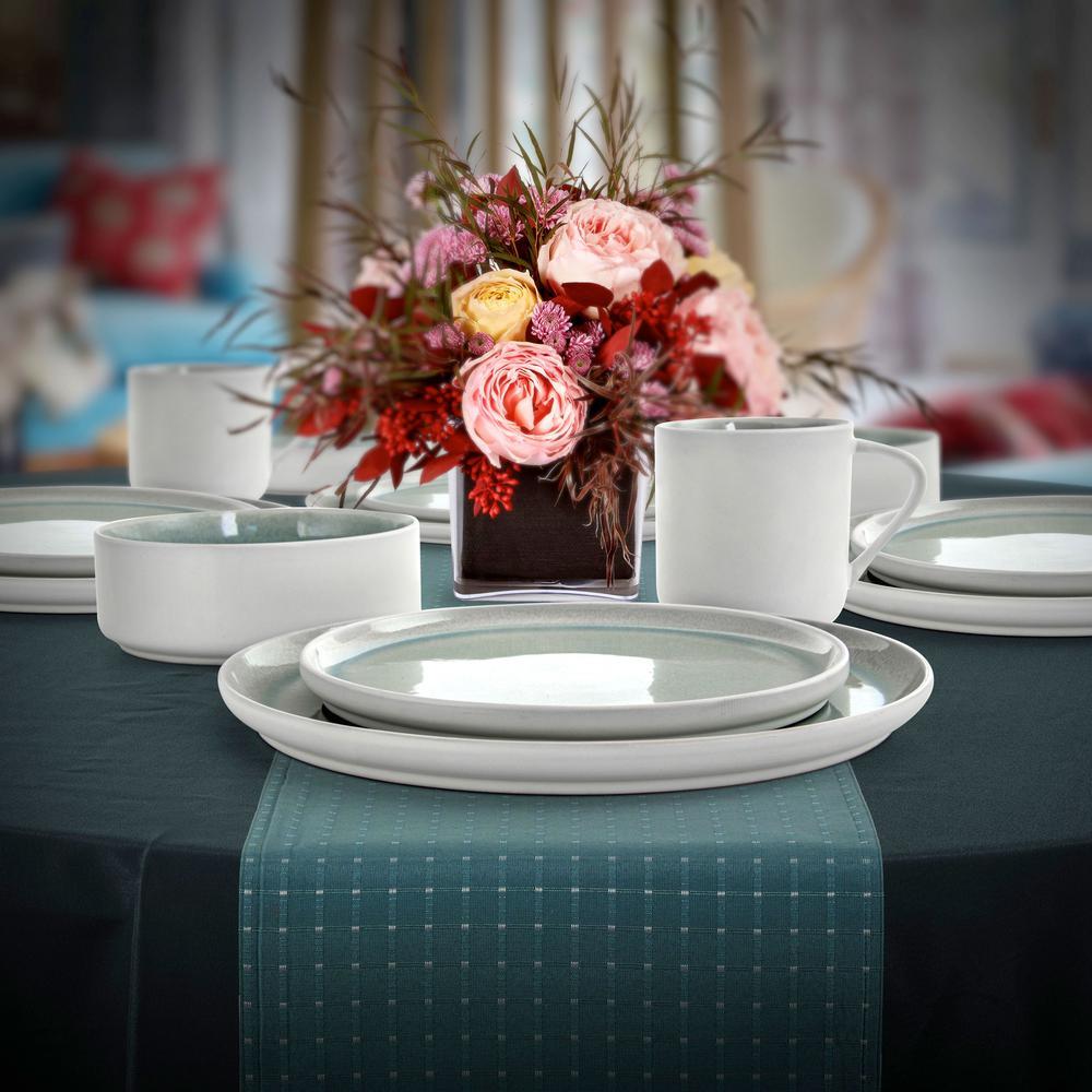 Global Edge 16-Piece Round Light Blue Stoneware Dinnerware Set