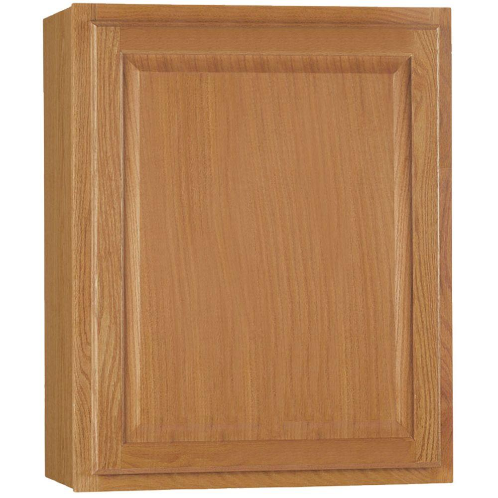hampton bay Hampton Assembled 24x30x12 in. Wall Kitchen Cabinet in Medium Oak