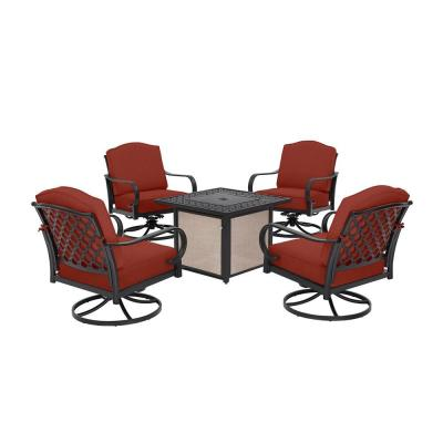 Laurel Oaks 5-Piece Brown Steel Outdoor Patio Fire Pit Seating Set with Sunbrella Henna Red Cushions