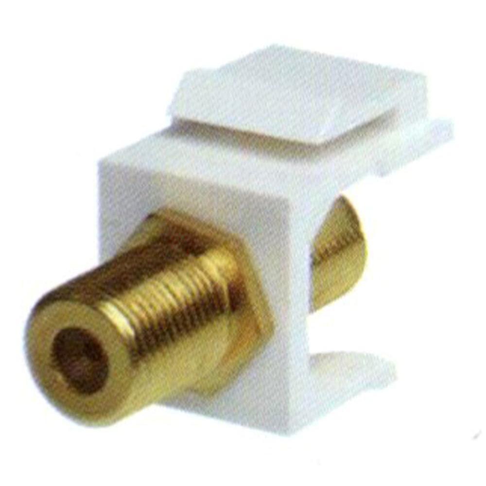 NTW F-Type Gold F/F Feed-Through Snap-In Keystone Jack Insert -White
