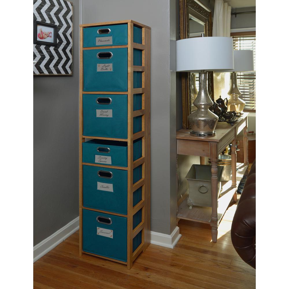 Flip Flop Medium Oak and Teal 6-Shelf Folding Bookcase and Storage Tote Set
