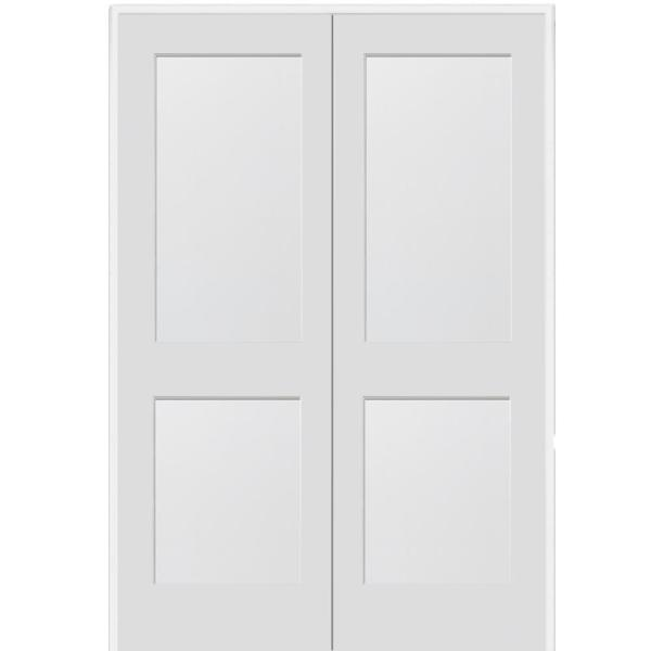 72 in. x 80 in. 2-Panel Flat Square Sticking Primed Composite Both Active Solid Core MDF Double Prehung Interior Door