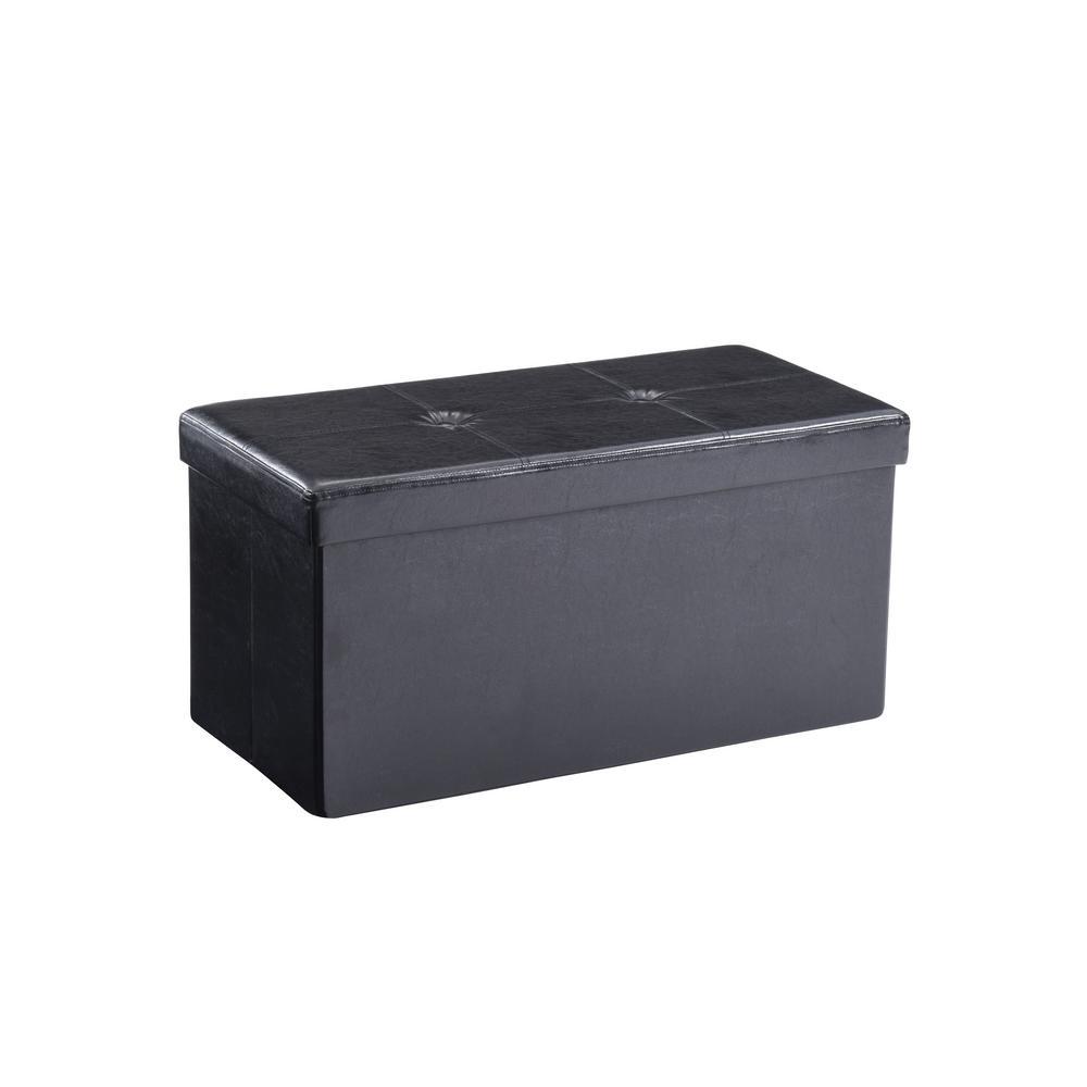 Double, Foldable, Faux Leather, Storage Black Ottoman