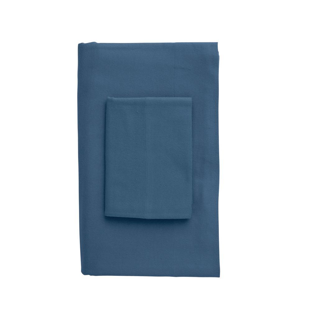 The Company Store Velvet Flannel Coronet Blue Queen Flat Sheet E2F2-Q-COR-BLUE