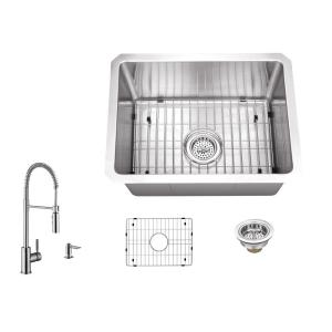 16 Gauge Stainless Steel 15 in. Undermount Radius Bar Sink with Pull Down Faucet and Accessories