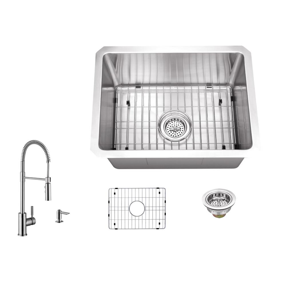 ipt sink company undermount stainless steel 15 in  16 gauge bar sink in brushed stainless with pull out kitchen faucet and soap dispenser iptra1520p7556     ipt sink company undermount stainless steel 15 in  16 gauge bar      rh   homedepot com