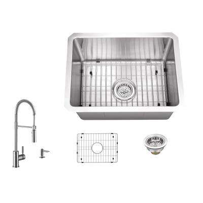Undermount Stainless Steel 15 in. 16-Gauge Bar Sink in Brushed Stainless with Pull Out Kitchen Faucet and Soap Dispenser