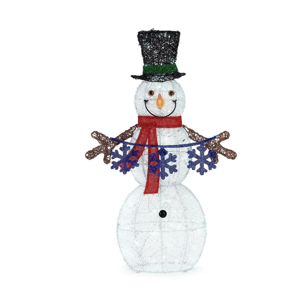 37 in. LED Lighted Cool White Acrylic Snowman Holding Snowflake String