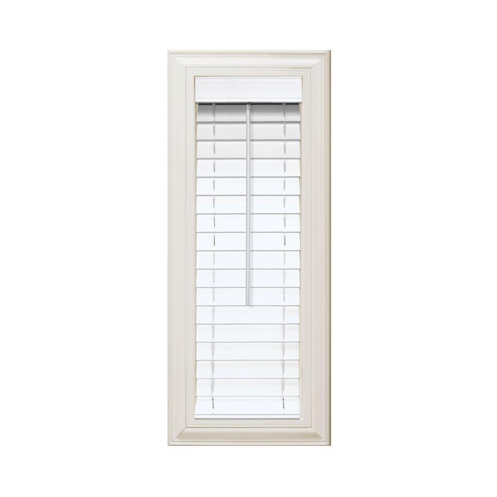 Home Decorators Collection White 2 in. Faux Wood Blind - 13 in. W x 84 in. L (Actual Size 12.5 in. W x 84 in. L )