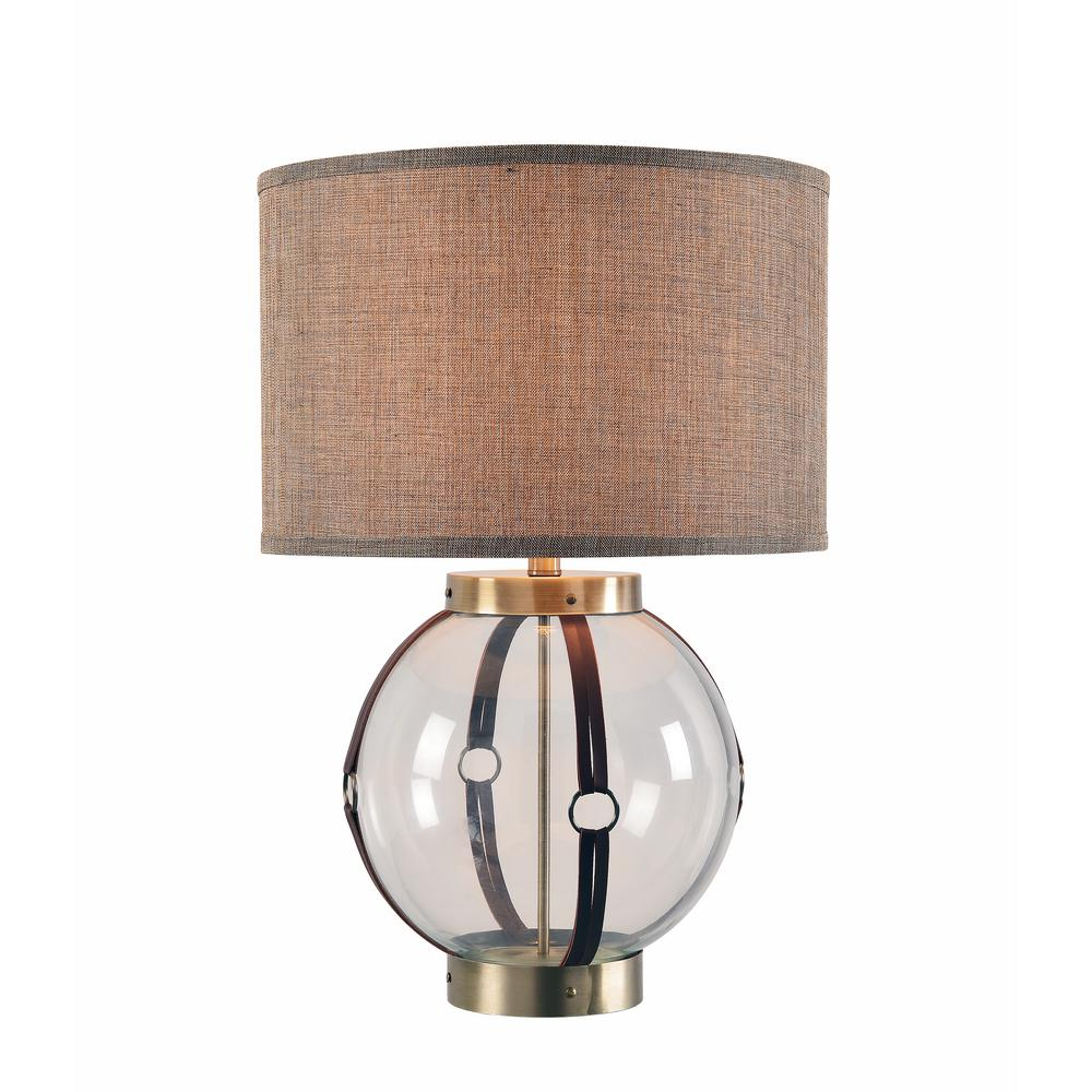 Table Lamp With Taupe Metallic Weave Shade