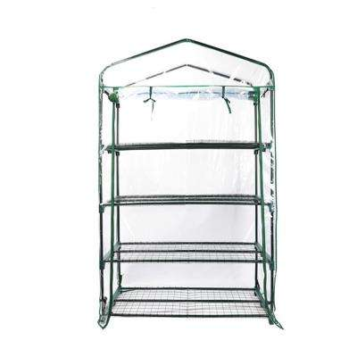 Extra-Wide 4-Tier Covered Portable Greenhouse (63 x 27 x 19 in.)