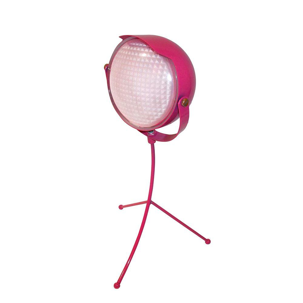 Limelights 14.17 in. Tripod Hard Hat Pink Martian Desk Lamp with Frosted Glass Shade