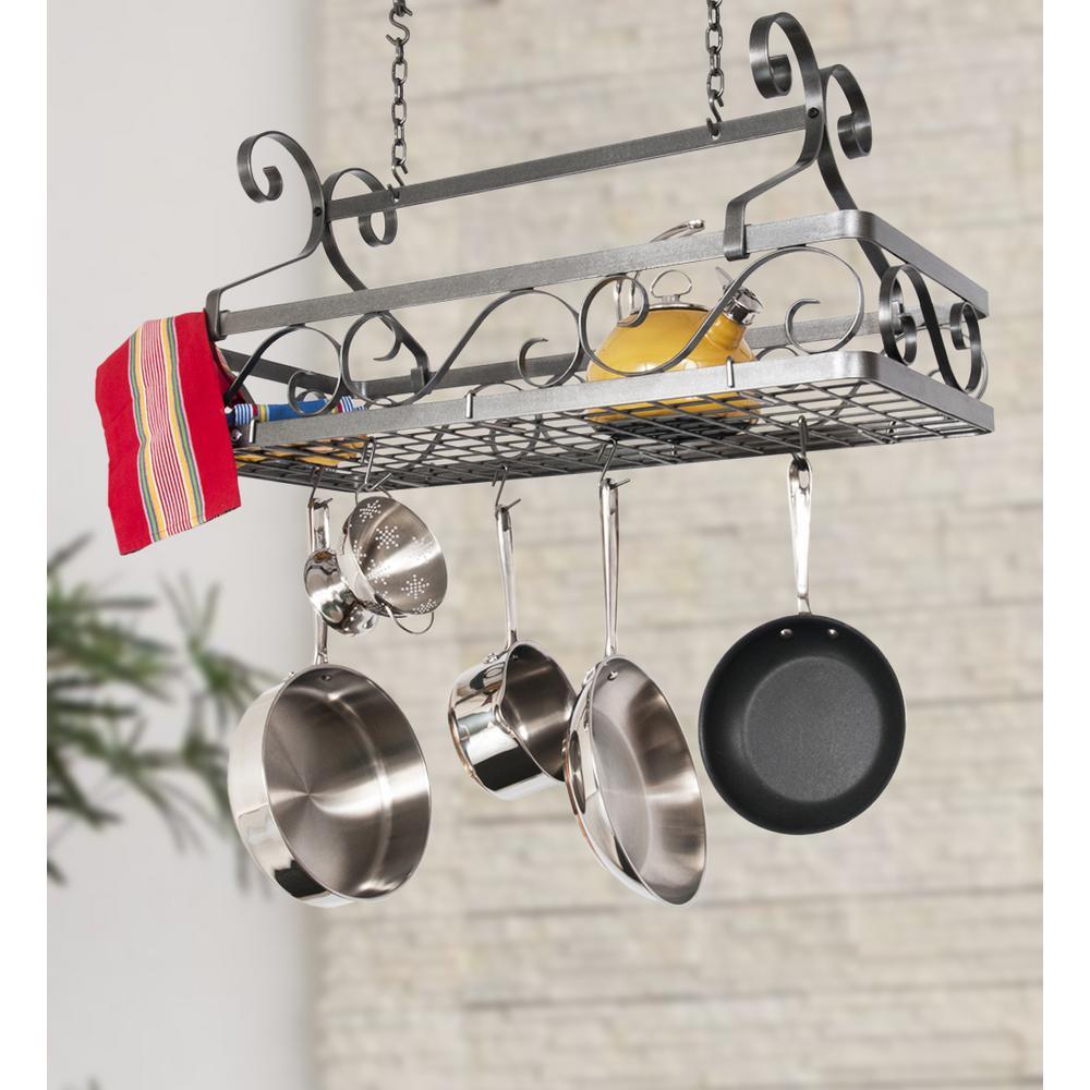 Enclume Handcrafted Decor Basket Rack with 12 Hooks Large Hammered Steel