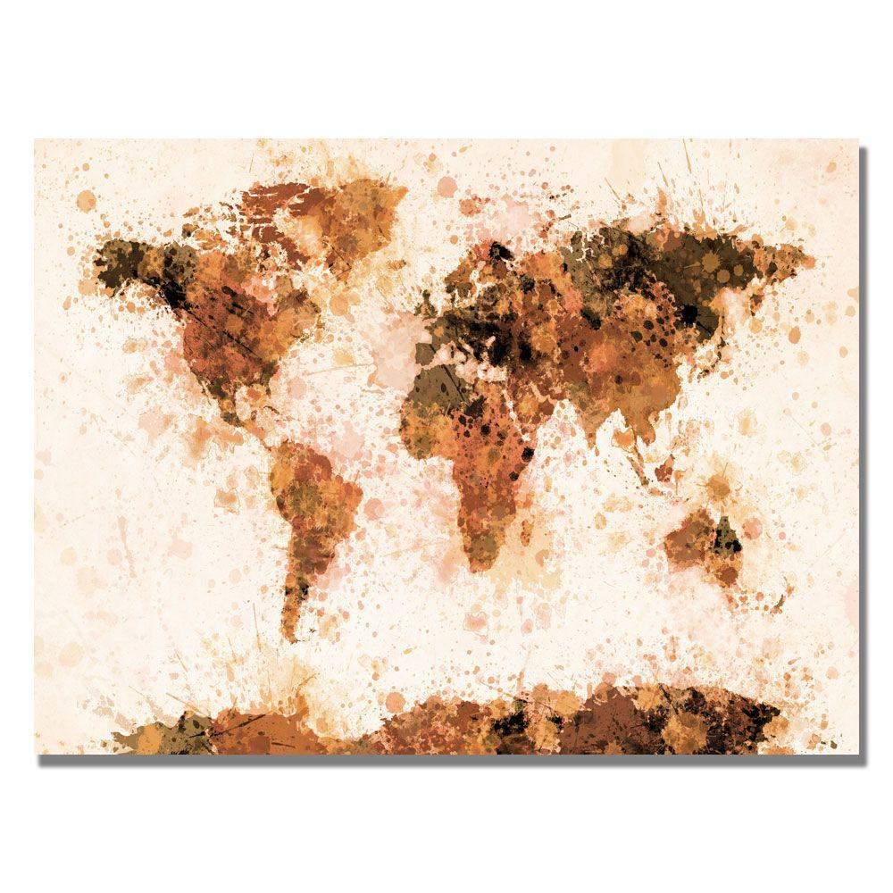 30 in. x 47 in. Bronze Paint Splash World Map Canvas