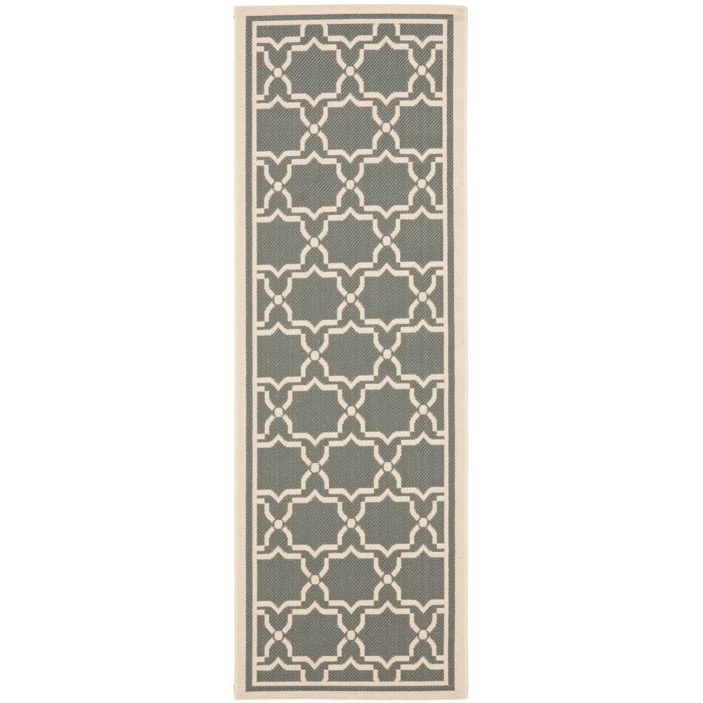 Courtyard Anthracite/Beige 2 ft. 4 in. x 12 ft. Indoor/Outdoor Runner