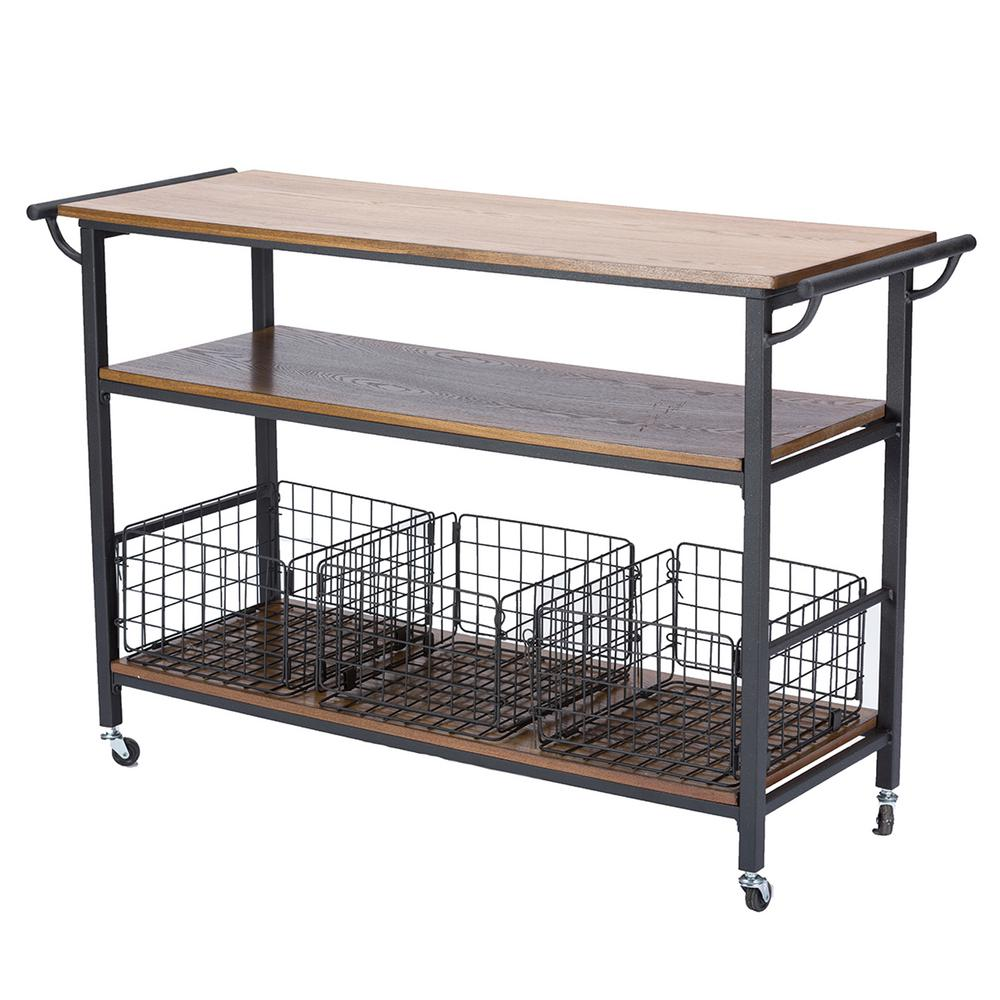 Baxton Studio Lancashire Medium Brown Kitchen Cart 28862