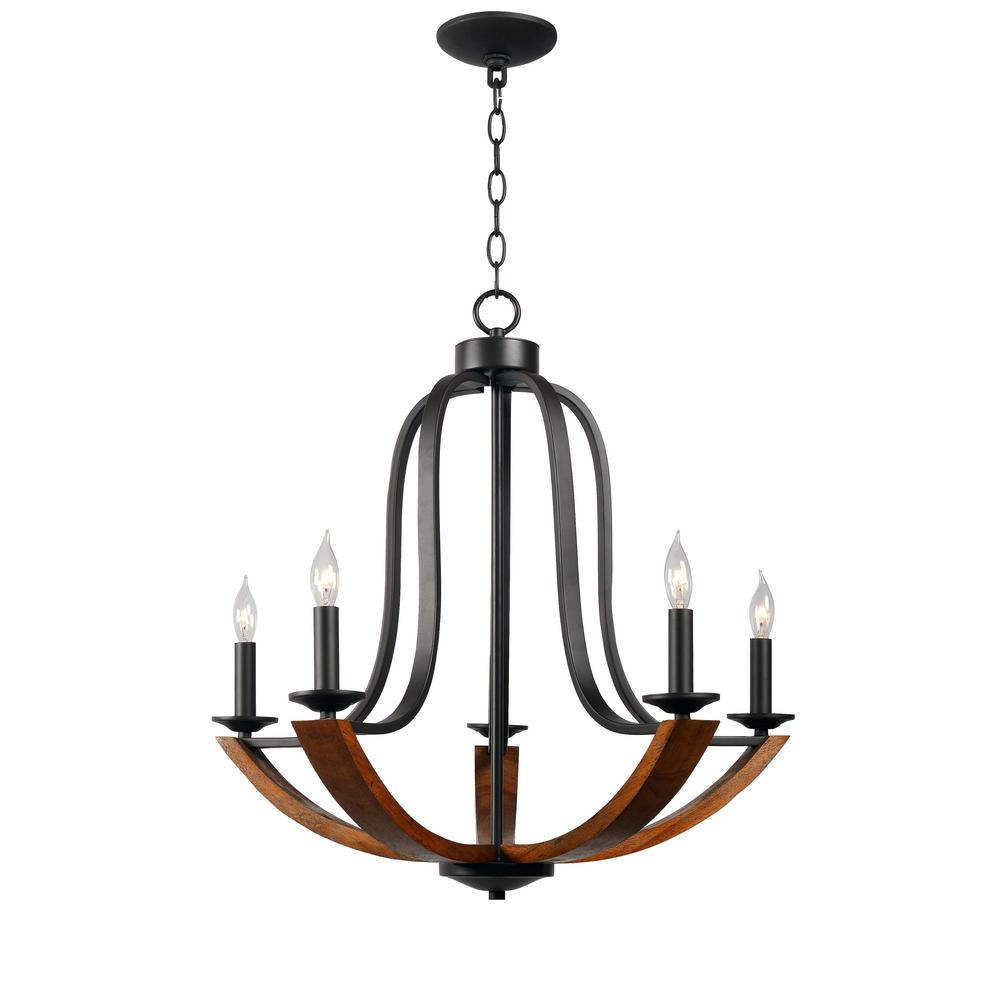 Oregon 5-Light Bronze Chandelier