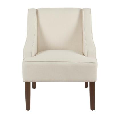 Linen-look Soft Cream Classic Swoop Arm Accent Chair