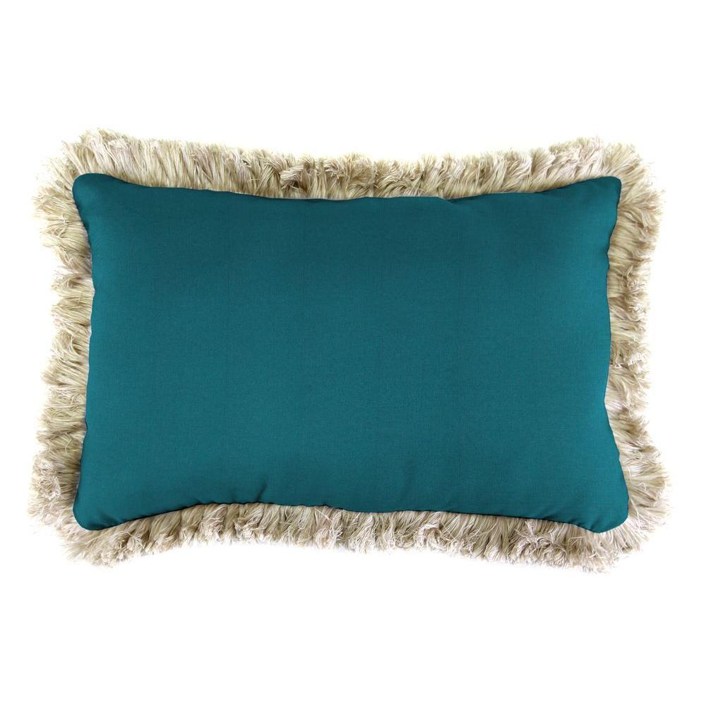 Sunbrella 19 in. x 12 in. Spectrum Peacock Lumbar Outdoor Throw Pillow with Canvas Fringe