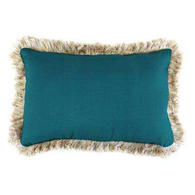 Sunbrella 19 in. x 12 in. Spectrum Peacock Lumbar Outdoor Throw Pillow with Canvas Fringe