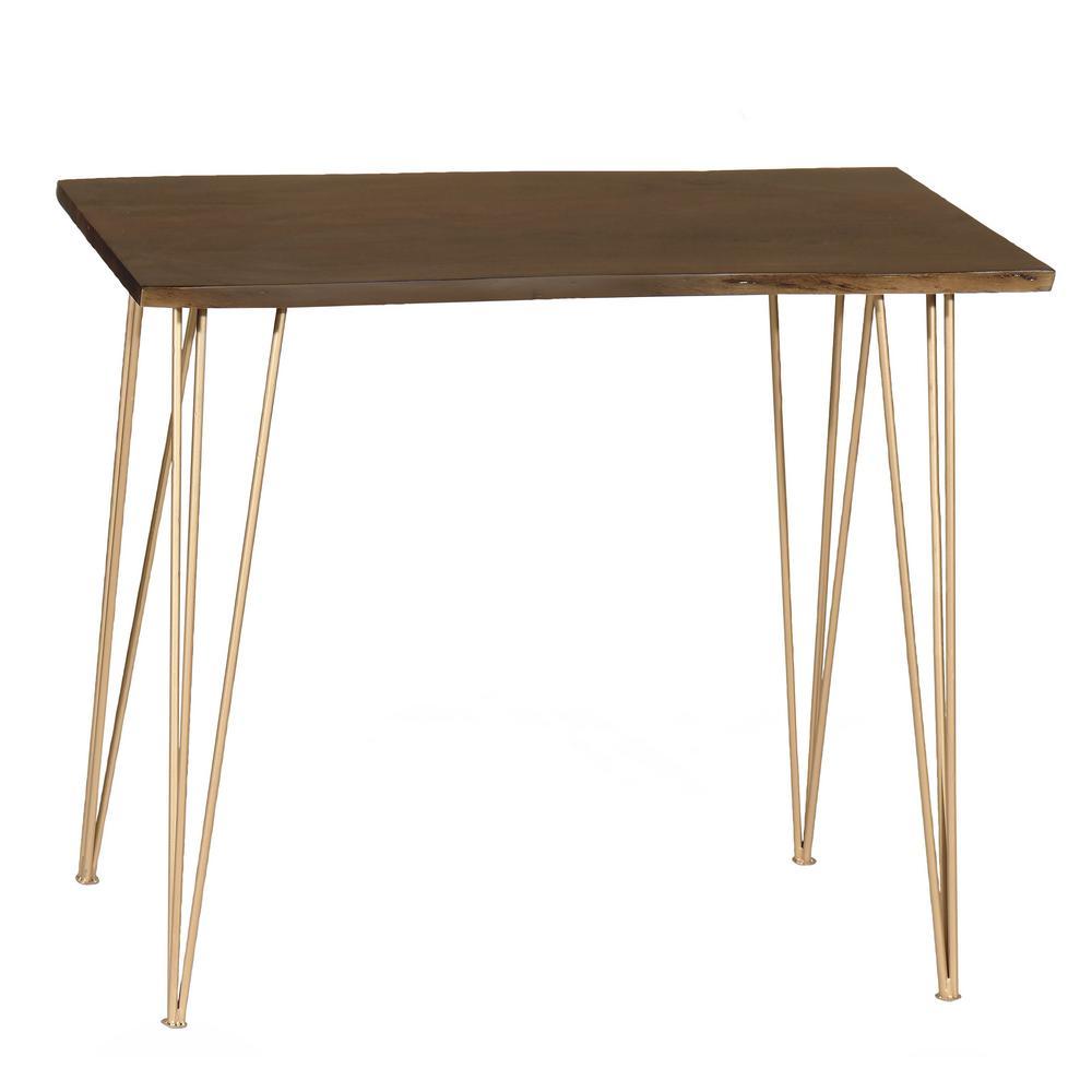 Seti Live Edge Elm Bar Table with Gold Legs