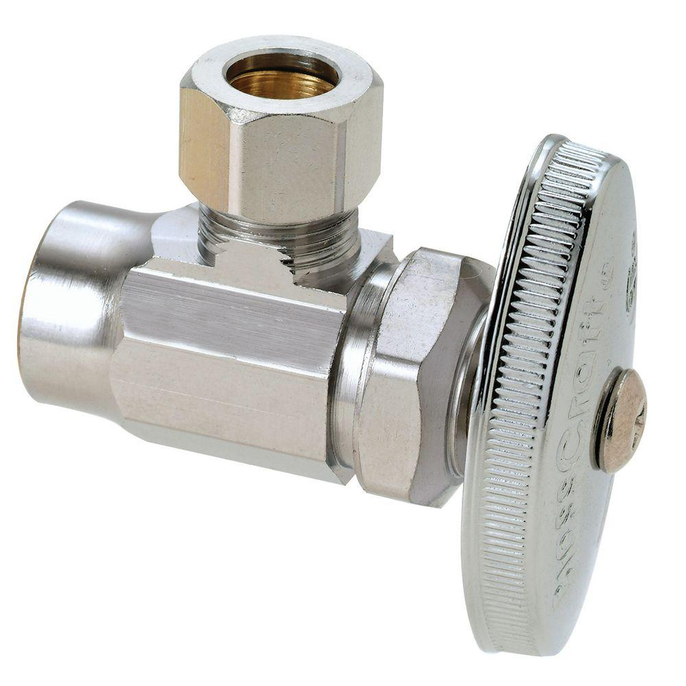 BrassCraft 1/2 in. Nominal Sweat Inlet x 3/8 in. O.D. Compression Outlet Multi-Turn Angle Valve