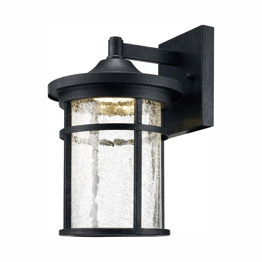 Home Decorators Collection Westbury Collection Aged Iron Outdoor Led Wall Lantern Sconce With Crackle Glass Led Kb 08304 The Home Depot