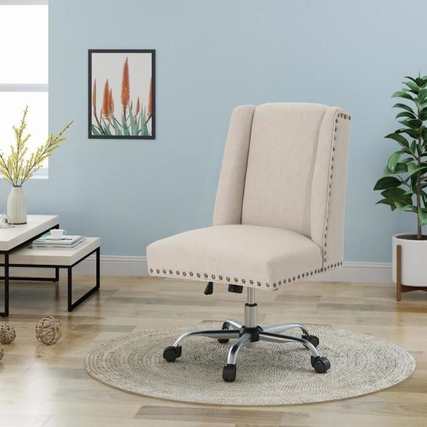 Noble House Chiara Wheat Fabric Home Office Desk Chair With Stud Accents 40956 The Home Depot