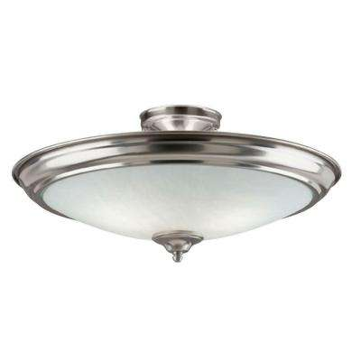 2-Light Brushed Nickel Interior Ceiling Semi-Flush Mount Light with Frosted Glass