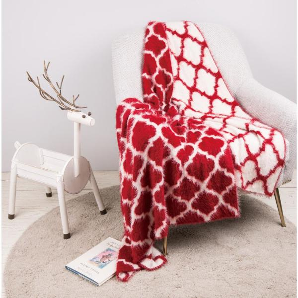 60 In L X 50 In W 1250g Reversible Knitted Nylon Eyelash Yarn Red White Throw Blanket