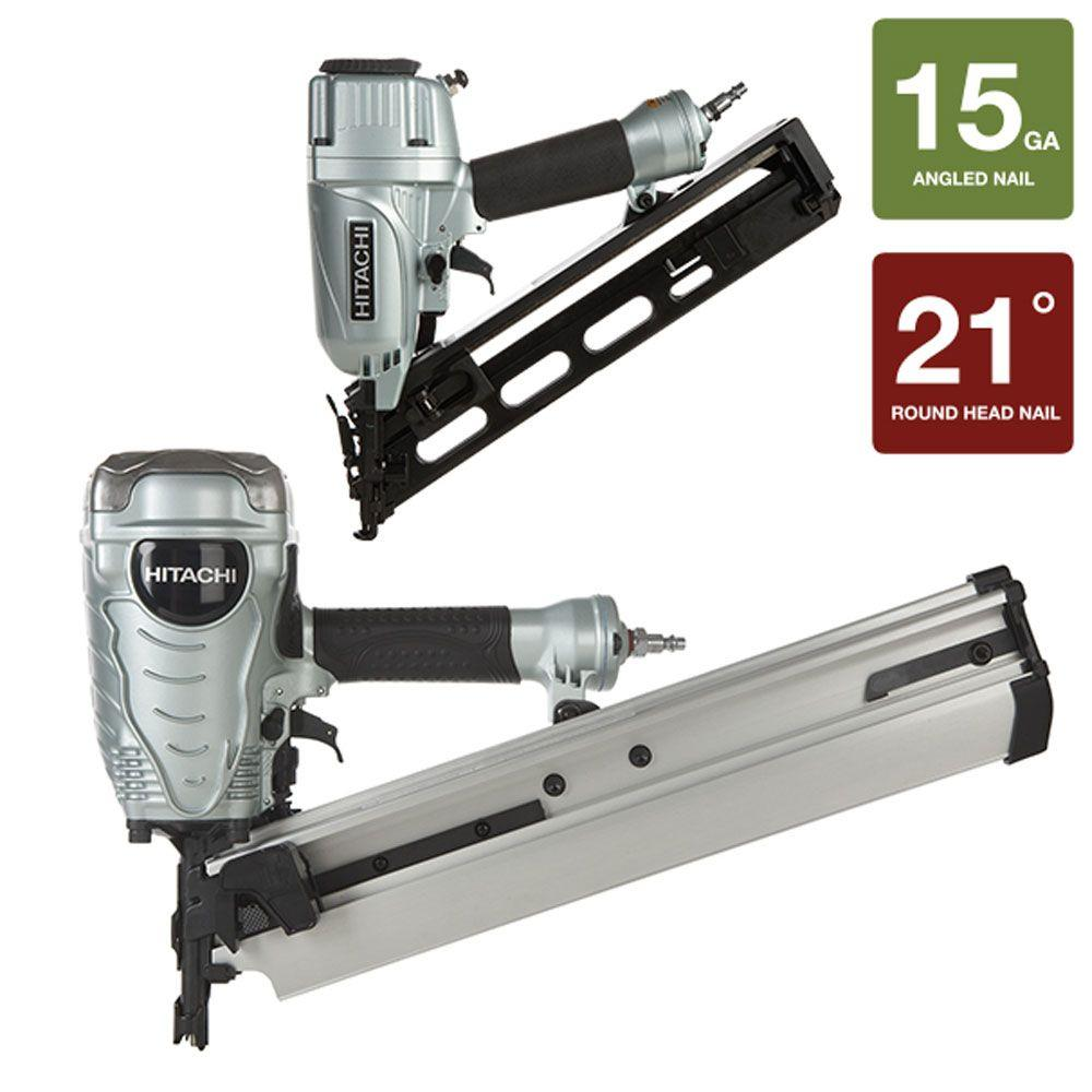 Hitachi 2-Piece 3-1/2 in. Plastic Collated Framing Nailer and 15-Gauge x 2-1/2 in. Angled Finish Nailer with Air Duster Kit