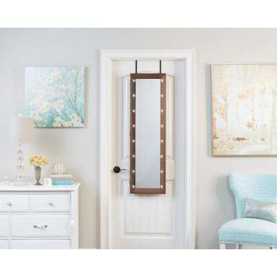 Weathered Espresso Mirrored Jewelry Armoire with LED Lights