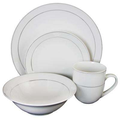 Platinum Moon 16-Piece White with Silver Band Dinnerware Set
