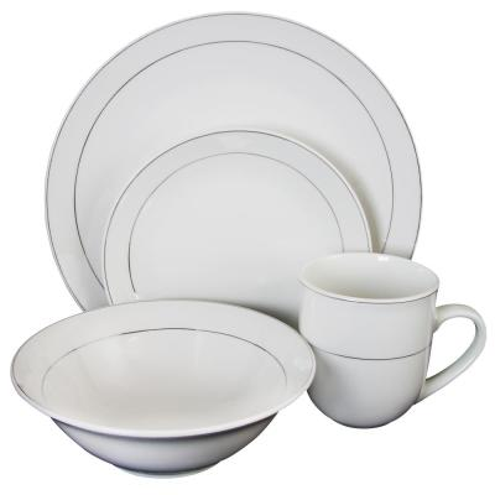 Platinum Moon 16-Piece Casual White Porcelain Dinnerware Set (Service for 4)