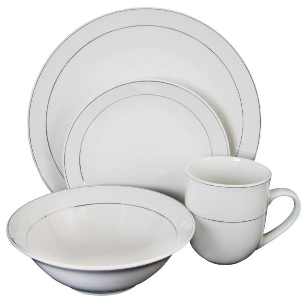 Gibson Platinum Moon 16 Piece White With Silver Band Dinnerware Set