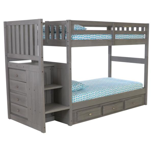 Twin over Twin Staircase Bunk bed in Charcoal with Seven Drawers