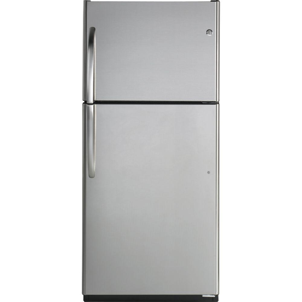 GE 29.5 in. W 18 cu. ft. Top Freezer Refrigerator in Stainless Steel