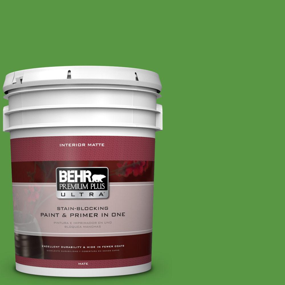 5 gal. #430B-7 Cress Green Matte Interior Paint and Primer in