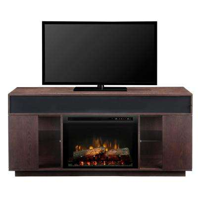 Audio Flex Lex 64 in. Freestanding Electric Fireplace TV Stand Media Console in Smoke