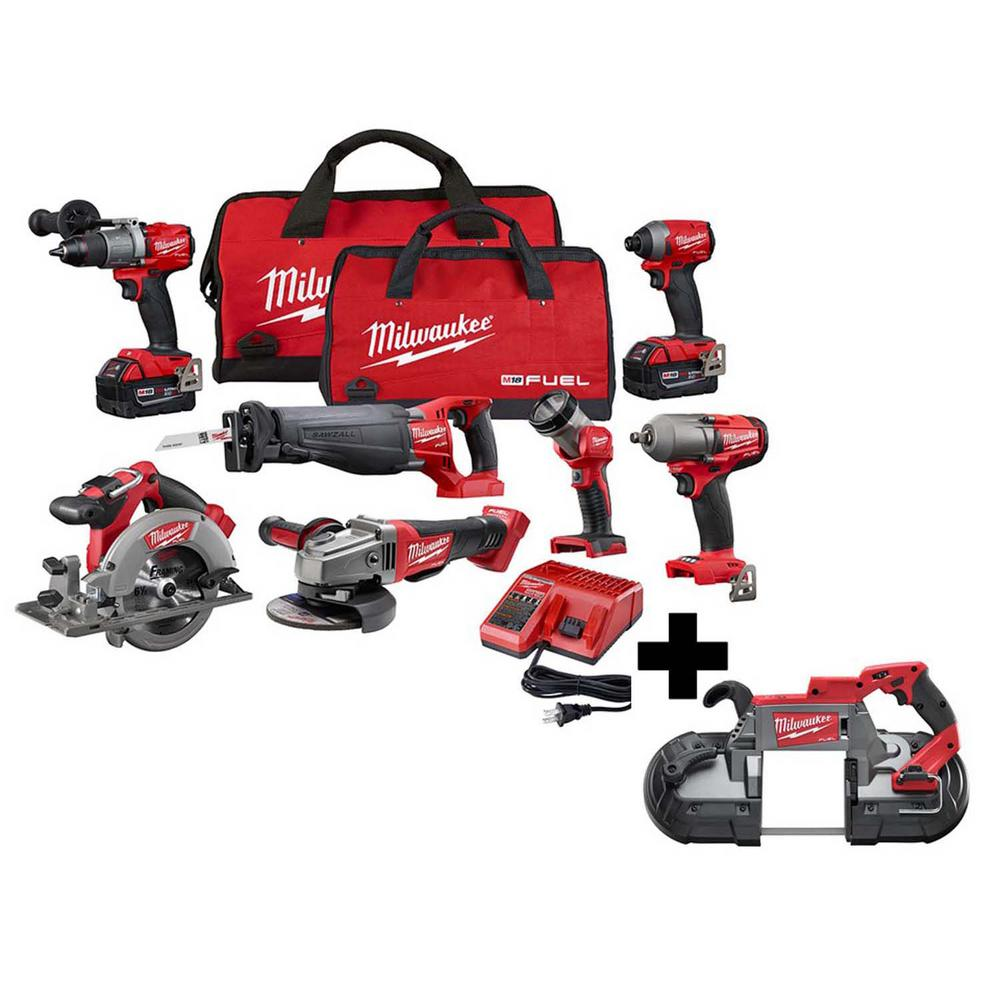 Milwaukee M18 FUEL 18-Volt Lithium-Ion Brushless Cordless Combo Kit (8 tool) w/ (2) 5.0 Ah Batteries, (1) Charger, (2) Tool Bags 2997-27-2729-20