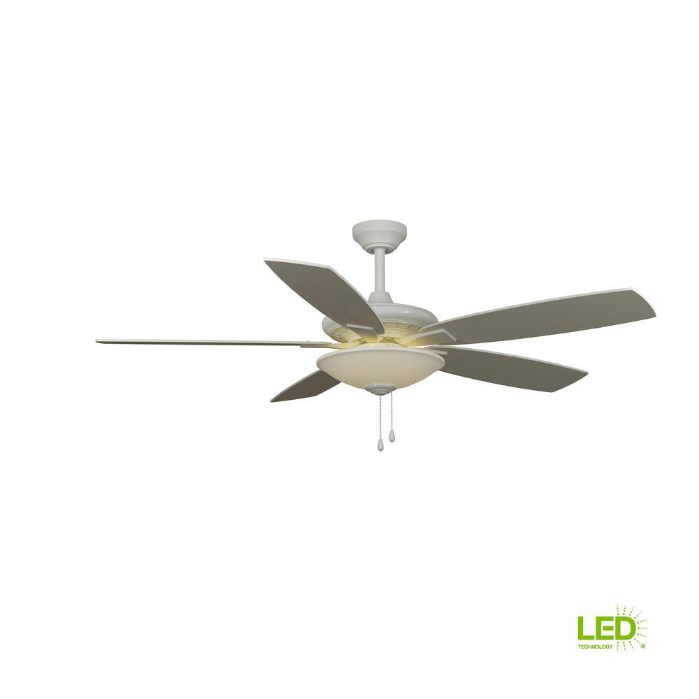Hampton Bay Menage 52 In Integrated Led Indoor Low Profile White Ceiling Fan With Light