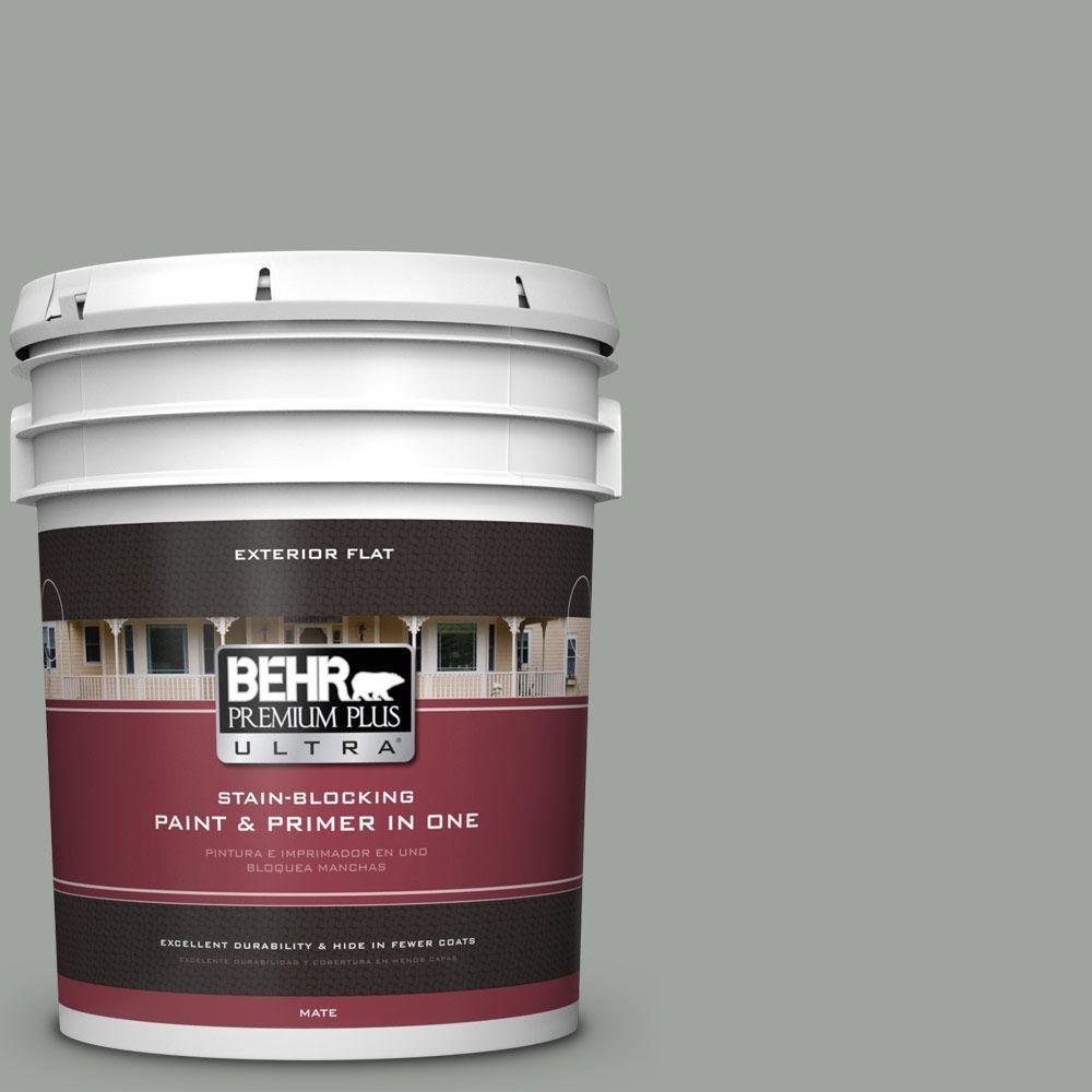 BEHR Premium Plus Ultra 5-gal. #710F-4 Sage Gray Flat Exterior Paint