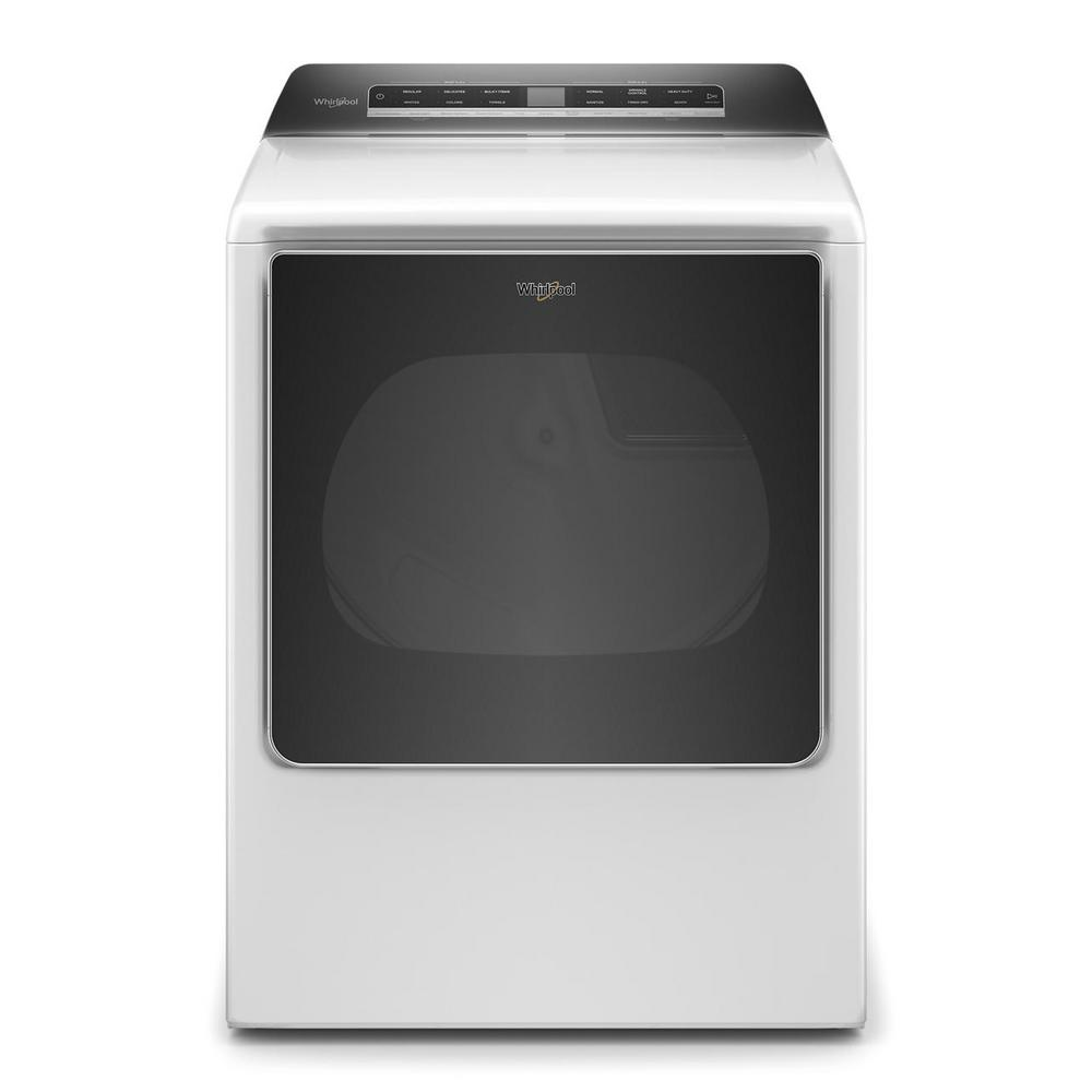 Whirlpool 8.8 cu. ft. 240-Volt Smart White Electric Dryer with Steam and Advanced Moisture Sensing Technology, ENERGY STAR