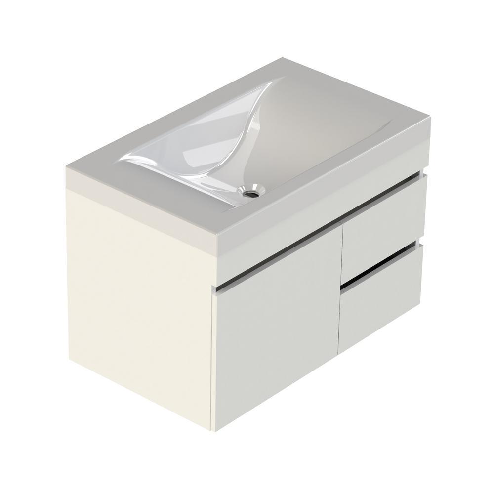 Viteli + Siena 31 in. W x 19 in. D Vanity in White with Cultured Marble Vanity Top in White with White Basin