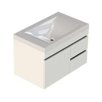 Viteli + Siena 31 in. W x 19 in. D Vanity in White with Cultured Marble Vanity Top in White with White Basin