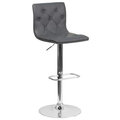 32.25 in. Adjustable Height Gray Cushioned Bar Stool
