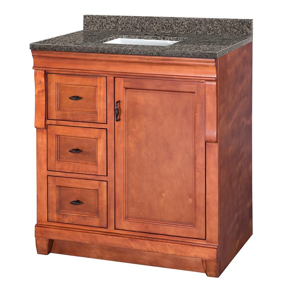 Home Decorators Collection Naples 31 in. W x 22 in. D Vanity in Warm Cinnamon with Granite Vanity Top in Sircolo with White Sink was $799.0 now $559.3 (30.0% off)