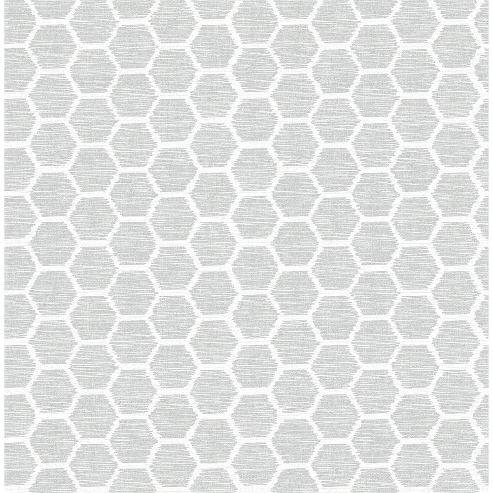 56.4 sq. ft. Aura Grey Honeycomb Wallpaper