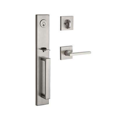 Santa Cruz Single Cylinder Satin Nickel Handle Set with Square Lever