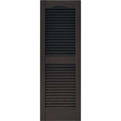 15 in. x 43 in. Louvered Vinyl Exterior Shutters Pair in #010 Musket Brown
